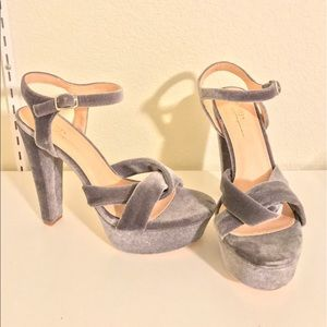 Gray velvet platform heels!